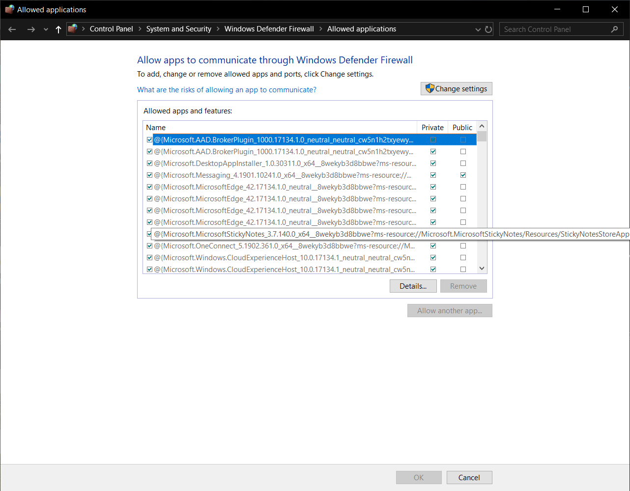 Allowed applications for Windows Defender Firewall